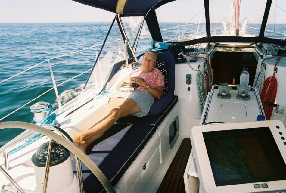 Terri kicked back, enjoying the great cockpit of the Sun Odyssey 43