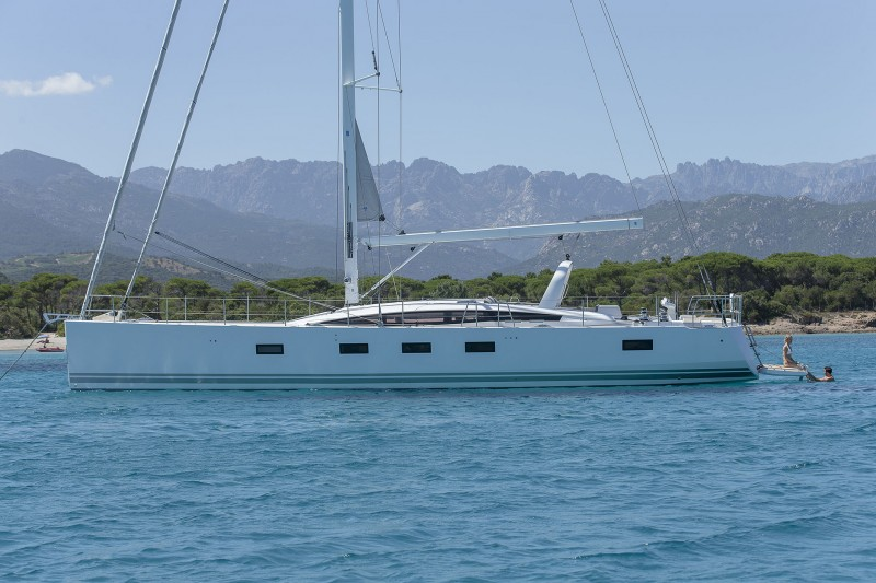 The Jeanneau 64, hull #1, just off the Corsican coast during its initial debut in June 2014.