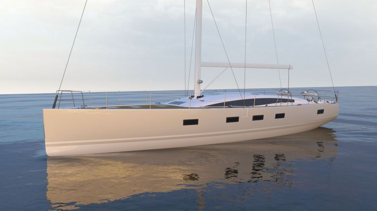 One of the first artist renderings of what would become the Jeanneau 64