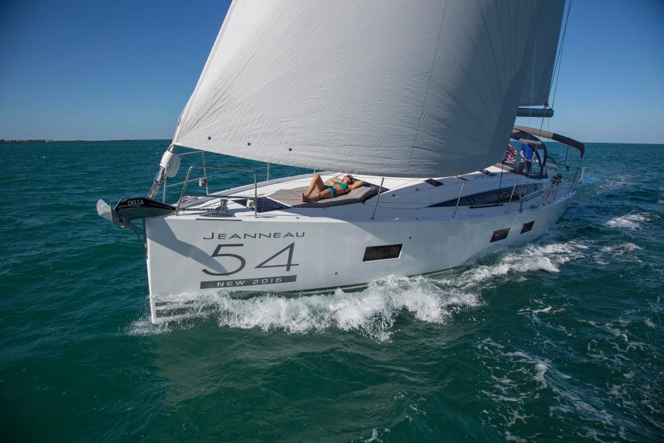 Jeanneau 54 sailing from Miami to the Ocean Reef Club, Key Largo FL