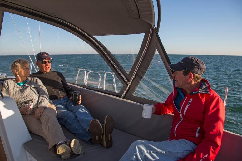 Paul Fenn and Gail and David Dodgen onboard the Jeanneau 57 in Key Largo FL